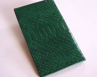Leather Planner Cover With 2017 Calendar - Bright Green Faux Snakeskin Leather - IMMEDIATE SHIPPING