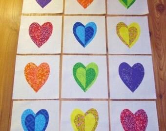 """Set of 12 Applique  6"""" x 6""""  Quilt Blocks  ... Colorful Split Hearts"""