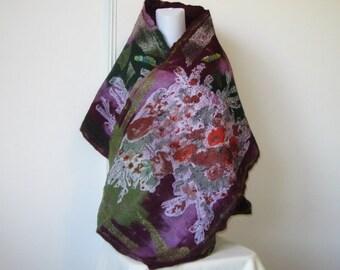 Felted Scarf Wrap Shawl Unique Winter Scarf Art Silk Violet Green