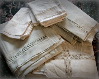 Antique Sheets Pillowcases Fabric Cutter Destash Lot, handmade lace trims, unfinished estate finds