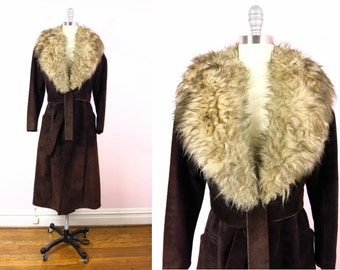 1970s Chocolate Leather & Faux Fur Coat M