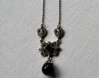 Vintage Sterling, Black Onyx, Marcasite Drop Pendant Necklace
