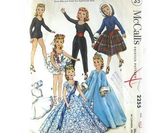 1958 Vintage Sewing Pattern - DOLL CLOTHES - McCalls 2255 - High Heel Dolls - 18 inch