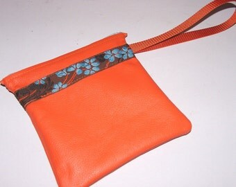 Orange LEATHER Zip Wristlet Handbag, Floral Embroidered Trim