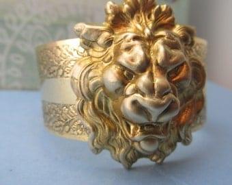 Lion Cuff gold bold Leo the Lion Bracelet Lion jewelry men or womens jewelry fierce lioness MyElegantThings