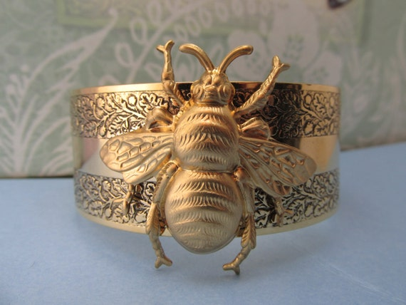 Bumble Bee Bracelet Gold bee jewelry My Elegant Things bee cuff brass cuff