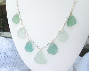 "Soft Blue and Sea Foam Green Sea Glass Multi Necklace on 18"" Sterling Silver Chain"