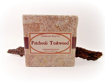 Patchouli Teakwood Cold Process Soap, Handmade Soap, Bar Soap, Palm Oil Free, Phthalate Free, Unisex Fragrance, Father's Day