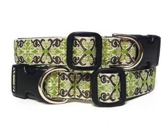 Dog collar, CAMELOT collar, tag collar, buckle collar, house collar, olive green collar, renaissance collar, medieval collar, dog tag collar