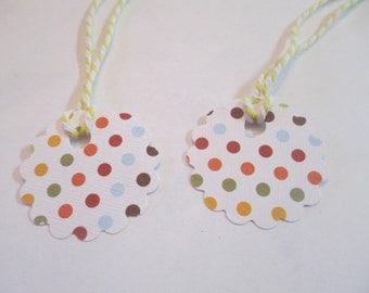 10 Handmade Round Polka Dot Gift Hang Tags
