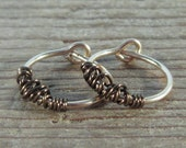 Hoop Earrings Gold Gunmetal Tangled - Gunmetal Hoops, Gold Hoop Earring, Small Hoop Earrings, Minimal Hoop Earrings, Tiny Hoop Earrings