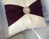 Ivory Dark Purple Ring Bearer Pillow Lace Eggplant Ring Pillow Rhinestone Accent