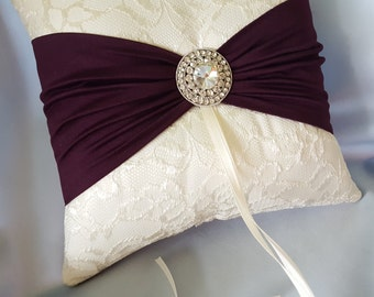 Ivory Dark Purple Ring Bearer Pillow Lace Eggplant Ring Pillow Rhinestone Accent