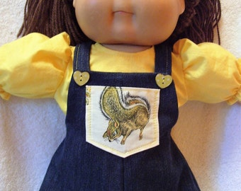 Cabbage Patch doll clothes, Squirrel Denim Jumper set,fits 16inch to 18inch Baby dolls