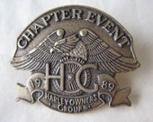 Harley Owners Group Pin Chapter Event 1989 Vintage Brooch