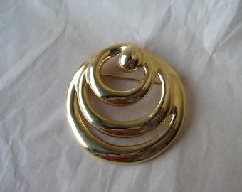 Circle Modern Gold Brooch Vintage Pin Mod