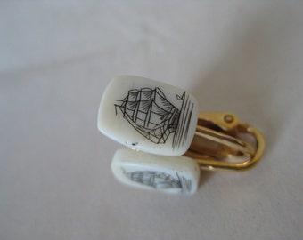 Ship Scrimshaw Earrings Clip Off White Gold Vintage