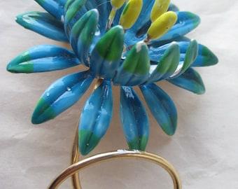 Flower Blue Green Yellow Brooch Enamel Gold Vintage Pin