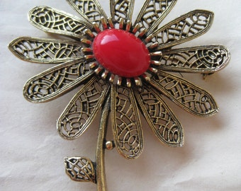 Flower Gold Filigree Red Brooch Vintage Pin Art