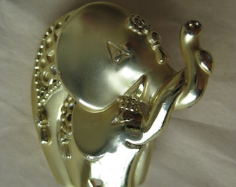 Elephant Mother Baby Brooch Gold Vintage Pin AJC