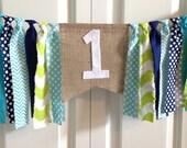 High Chair Banner ~Aqua Lime Navy ~Birthday Banner ~Photo Prop ~1st Birthday ~Rag Tie Garland ~Rag Banner