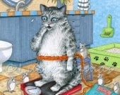 Laminated Fridge Magnet Print ACEO Cat 579 Mouse Bathroom from funny art painting by L.Dumas