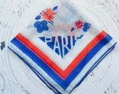 Vintage Handkerchief Paris 1937
