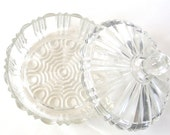 Large Vintage Candy Dish with Lid, Anchor Hocking Old Cafe Pressed Glass Covered Dish