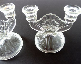 2 Vintage Clear Glass Double Candlesticks - Jeannette IRIS Double Light Candle Holders, Candelabrum