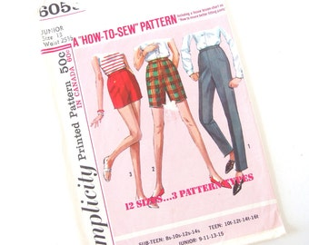 Vintage 1960's Junior Simplicity Sewing Pattern 6055 for Slim Cigarette Pants, Bermuda and Jamaica Shorts, Waist 25.5 Inches