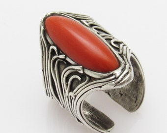 Wide Sterling Coral Ring Artisan Unusual Jewelry R7420