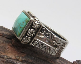 Wide Sterling Turquoise Ring Stamped Band Vintage Jewelry R7472