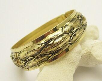 Vintage Hinged Bangle Bracelet Leaves Whiting Davis Jewelry B7150
