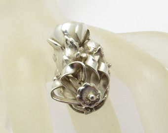 Art Nouveau Sterling Ring Long Floral Antique Jewelry R7275