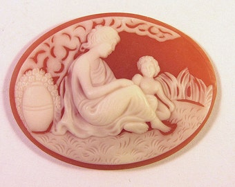 Mother Child Oval Cameo Cabochon
