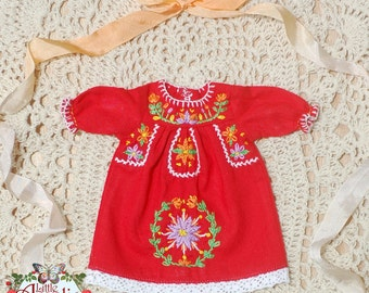 Pre-order Mexican Embroidery 3/4 Sleeves Dress  for Blythe