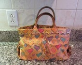 Dooney and Bourke yellow handbag/shoulder bag with hearts- nice condition, functional, beautiful