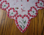 Vintage Hearts Handkerchief, Red Roses, Lily of the Valley, Bows & Arrows, Love Doves, Valentine Hanky, Pink, Red, Vintage Handkerchief