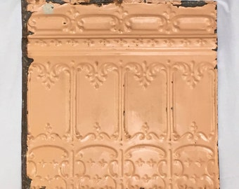 AUTHENTIC Tin Ceiling Piece Tile Peach Panel 2x2 Arts and Crafts  RECLAIMED 356-16