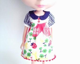 OOAK Patchwork print dress for Blythe
