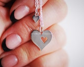 Mother Daughter Heart Cutout Necklace - Solid 925 Sterling Silver Charms - Insurance Included