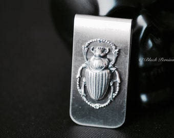 Scarab Money Clip - Egyptian Beetles Antique Sterling Silver Plated Brass Stampings - STAINLESS STEEL Clip - Insurance Included