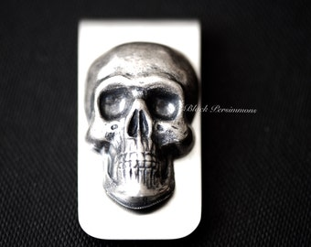 Custo Money Clip - Large Skull Head Gothic Victorian Antique Sterling Silver Plated Brass Stamping - STAINLESS STEEL - Insurance Included