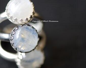 2 LEFT - Kari Rainbow Moonstone Ring - Round Genuine Auspicious Feng Shui Intelligence Symbol Gemstone - Solid 925 -  Insurance Included