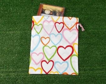 Small drawstring bag, gift bag, hearts cotton bag, small toy bag, trinket bag