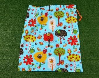 Owls aqua drawstring bag, large library bag, toy bag or storage bag, owls kindy sheet bag