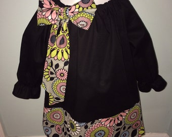 Long Sleeved Black Peasant Dress with Grey Floral Trim