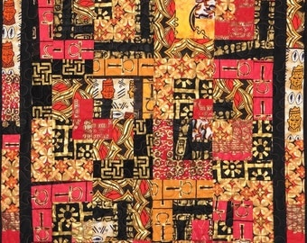 Patchwork Quilt - yellow, red, black and gold West African wall hanging