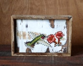Hummingbird on White - Tin on Salvaged Wood