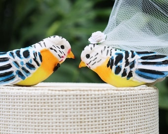 Striped Parrot Wedding Cake Topper in Blue and Orange: Bride & Groom Tropical Love Bird Cake Topper